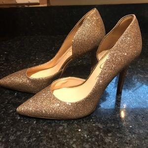 Sliver glitter heels